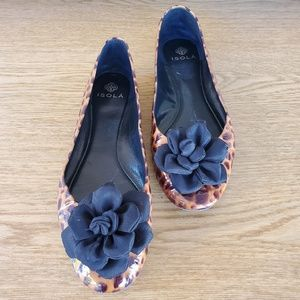 Isola Leopard Flower Leather Ballet Flats 8.5